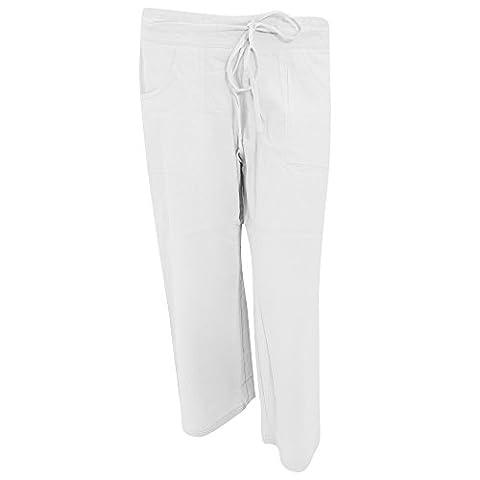 Ladies/Womens Plain Three Quarter (3/4) Length Linen Trousers/Shorts (UK 14) (White)