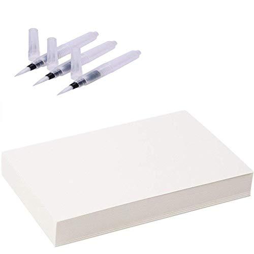 Aquarellpapier Weiß A5 100 Blätter 100% Baumwolle Cold Press und Pinsel Stifte 3 Stück