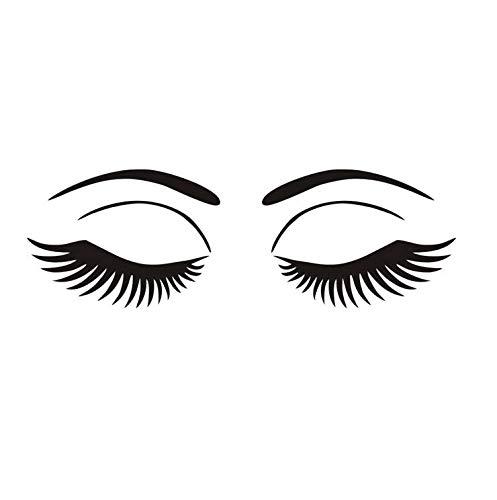 Wandaufkleber Barbershop Dekoration Make-Up Salon Mädchen Große Augen Gesicht Kosmetische Vinyl Aufkleber Wohnkultur 59x19 cm
