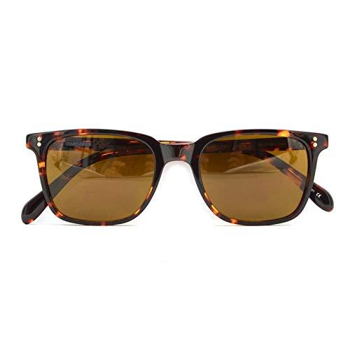 LKVNHP Neue Qualitäts -Art Marken -Sommer -Retro -Sonnenbrille Mann-Qualität Uv400 Polarisierte Linse Fahren Glas Vintage -Platz SonnenbrillenKaffee Von Leopard