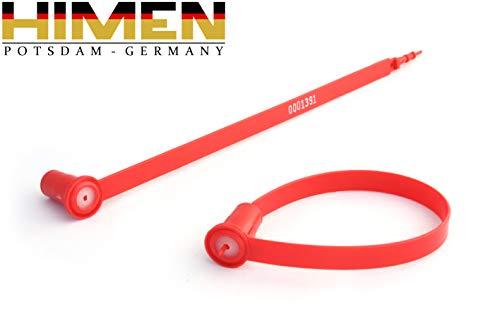 100x PLOMBEN aus Kunststoff von HIMEN   fortlaufend nummeriert   Länge 210 mm   APS-210RR   Seals   red -
