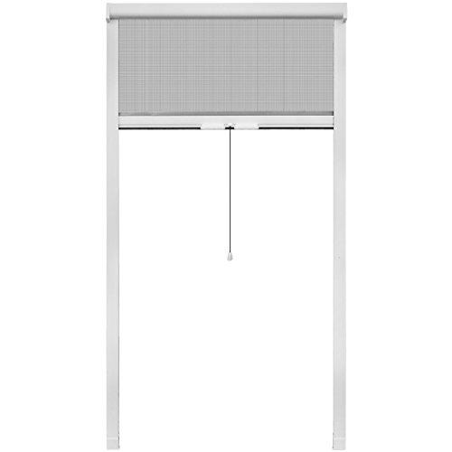 Festnight Weißes Aufrollbares Insektengitter Insektenschutz Fliegengitter Netz 100 x 170 cm für Fenster