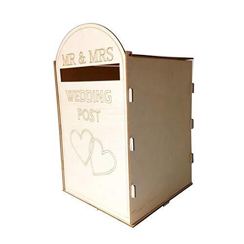 Opfury Briefkasten Hochzeit Royal Mail rustikale Hochzeit Karte Box mit Schloss und Schlüssel Geschenk Kartenhalter für Empfang Hochzeitstag Party Graduierungen Dekoration (33,1 cm x 20,3 cm 20,3 cm) (Hochzeit Rustikale Box Karte)