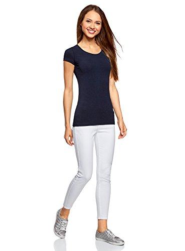 oodji Ultra Damen Tagless Tailliertes T-Shirt Basic (2er-Pack) Blau (7900N)