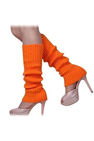 SODIAL(R)Femmes solide Couleur Tricotes sans pied Jambieres Orange