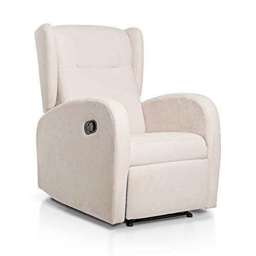 Sueños ZZZ | Sillon relax reclinable HOME tapizado tela antimanchas beige |...