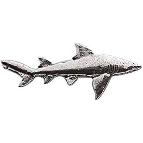 In peltro, a forma di squalo, colore: giallo limone, S124M Refrigerator Magnet