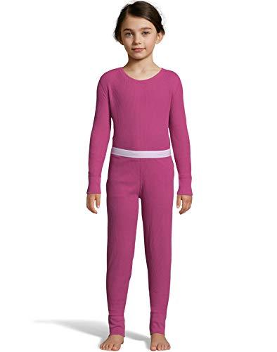 Hanes Hanes Girls Solid Waffle Knit Thermal Set (125703) -HOT PINK -XS