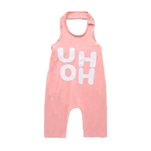 Julhold Toddler Baby Boys & Girls Moda Senza Maniche Stampa Stampata Backless Loose Tuta in Cotone Pagliaccetto 1-6 A