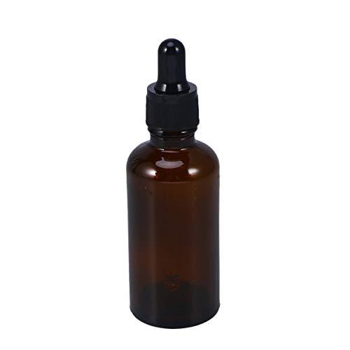 Lurrose Glasflaschen für ätherische Öle, 50 ml, nachfüllbar, leere bernsteinfarbene Flasche mit Tropfer und Kappe, Küchenwerkzeug, Chemie, Labor, Chemie, Chemie, Köln, Parfüm, 4 Stück