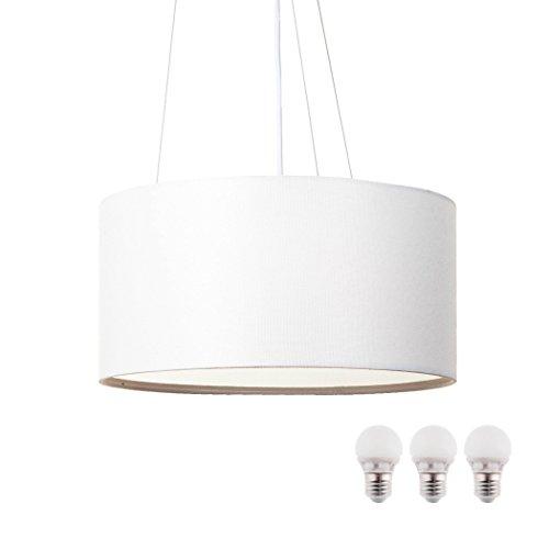 Sebson soffitto bianco tessile, con lampada led e275w bianco caldo, 40cm diametro, lampada rotonda