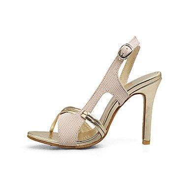 LvYuan Da donna Sandali Comoda PU (Poliuretano) Estate Formale Comoda Fibbia A stiletto Oro Nero Argento Rosa 10 - 12 cm blushing pink