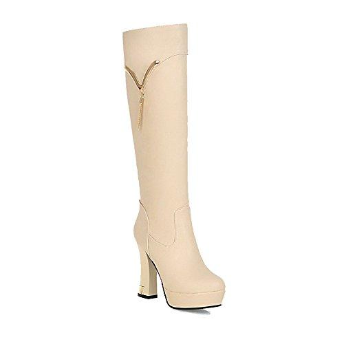 AllhqFashion Damen Weiches Rund Zehe Hoher Absatz Hoch-Spitze Stiefel, Aprikosen Farbe, 36