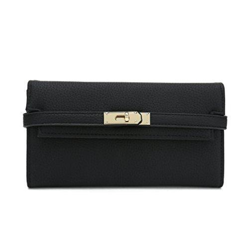 Belle Vannes Damen Designer Groß Geldbörse Brieftasche Lang aus Leder mit Goldene Hardware und Reißverschluss Schwarz