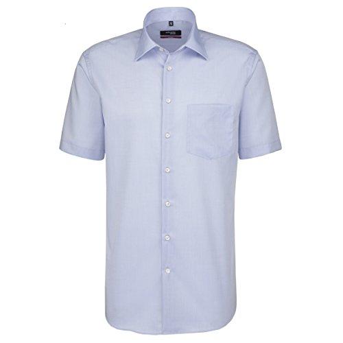 Seidensticker Herren Businesshemd Modern Kurzarm mit Kent-Kragen Bügelfrei, Blau (Hellblau 15), Large (Herstellergröße: 42)