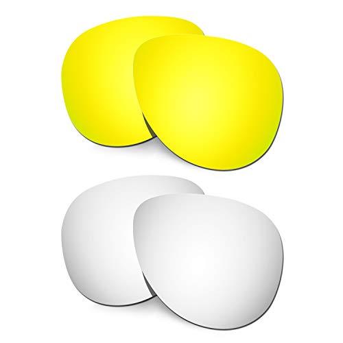 HKUCO Verstärken Ersatz-Brillengläser für Oakley Elmont (Medium) 24 Karat Gold/Titan Sonnenbrille