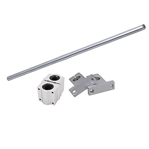 CNBTR Silver 12MM Dia Cylinder Linear Shaft Optical Axis L500mm & CNC Ball Slide Units Linear Rail Support with Linear Bearing Set
