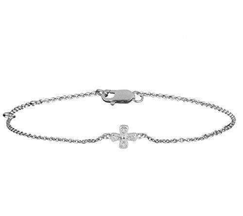 Or Blanc 9 ct Bracelet Diamant, 0.02 Ct Diamant, GH-SI, 1.52 grammes.