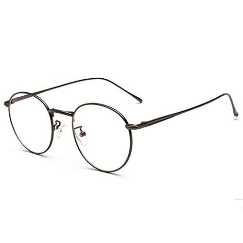 Volon Brille Retro Glasrahmen-Ebenenspiegel Dekobrille Nerdbrille Klassisches Rund Rahmen Glasses,,Grau