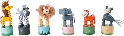 """small foot 7924 Drücktiere \""""Afrika\"""", Drückfigurenset aus Holz, sechs verschiedene Tier-Holzfiguren, ab 3 Jahre"""