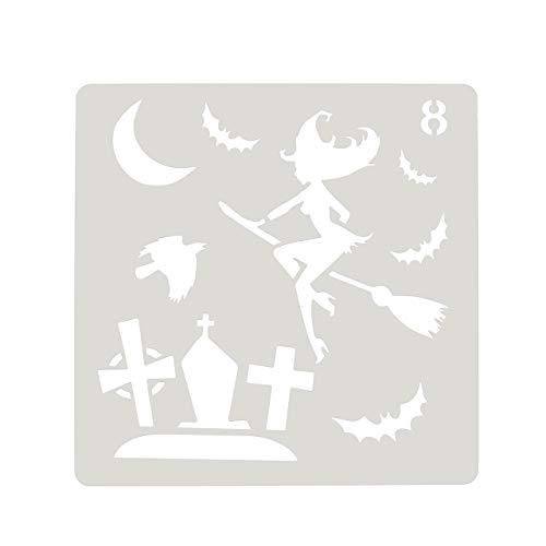 Faletony 8 Stücke Kinder Zeichenschablone Halloween Schablonen DIY Zeichnung Malerei Handwerk Set (Schablonen #08)