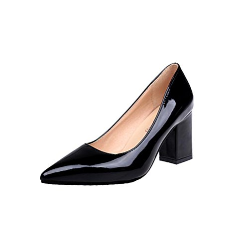 FEITONG Spitze Damen Pumps | Blockabsatz High Heels | Frauen High Heels Pumps Kleid Schuhe (EU:38=CN:37, Schwarz) (Heel Low Lackleder)