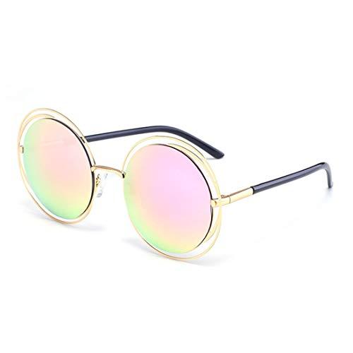 Retro Style Metallic Full Frame Runde UV-Schutz Sonnenbrille Farbige Linse Fahren im Freien. Brille (Farbe : Rosa)