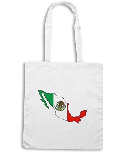 T-Shirtshock - Borsa Shopping TM0211 Mexico Bandera flag Bianco