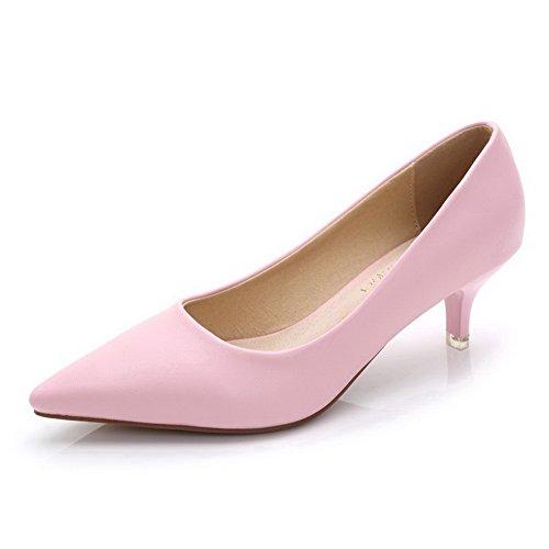 21399ccfe4c4dd AalarDom Damen Rein Schließen Zehe Mittler Absatz Spitz Zehe Ziehen Auf Pumps  Schuhe Pink-Pu
