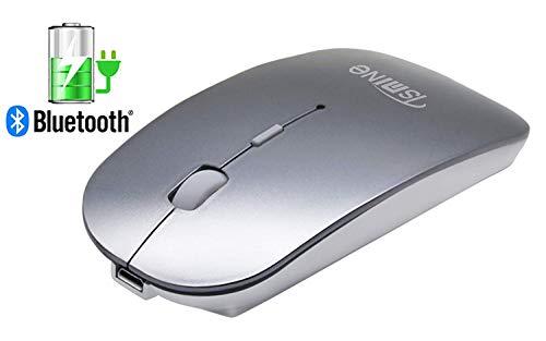 TSMINE Bluetooth Mouse Wiederaufladbare Neueste Upgrade Slim Silent Wireless Mäuse für MacBook Pro/Air, iMac, Computer, PC, Laptop, Windows/Android Tablet, integrierte Batterie- Grau - Wiederaufladbare Bluetooth Laser Maus