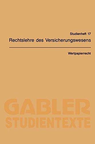 Wertpapierrecht (Gabler-Studientexte, Band 17)