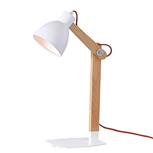 Lampe de bureau simple Table de chevet lampe commode tissu abat-jour Lampe de bureau Lampe en bois massif pour chambre salon dortoir table basse - blanc