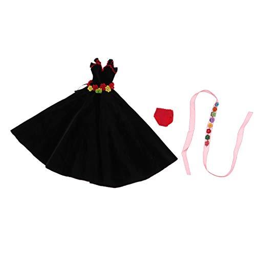 P Prettyia Elegantes langes Flanell Abendkleid Partykleid mit Haarband Unterhosen für Blythe Doll Dress Up Zubehör - Schwarz - Flanell Mini Rock
