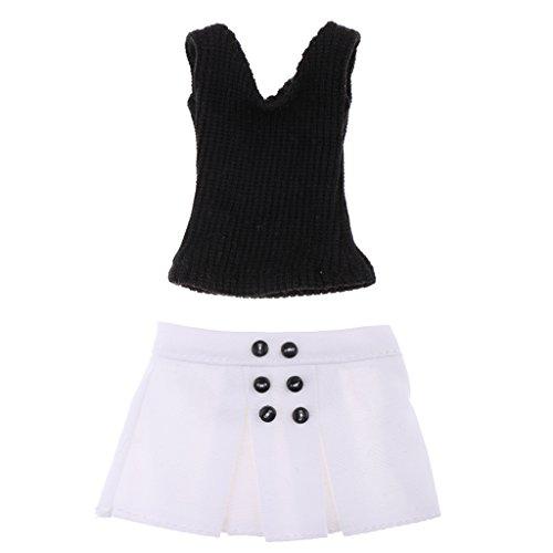 Sharplace 1/6 Schwarz Stricken Weste & Weiße Minirock Outfit Set für 12