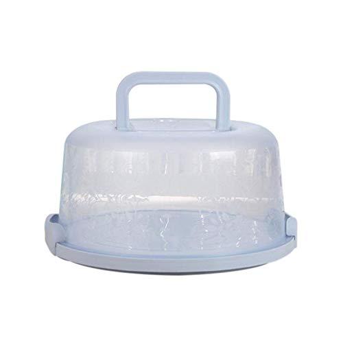 Singeru Kuchenbehälter rund mit Haube (Kuchentransportbox Ø 22 cm Deko Kuchenbox mit Deckel) Tortenplatte mit Griff 3 Farben (Blau)