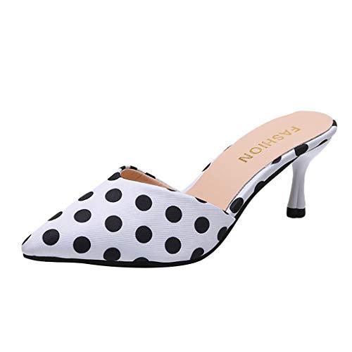 fen Hoher Absatz Sandalen Hausschuhe mit Bowknot Spitze Hausschuhe Schlüpfen Schuhe Stilett Pumpe Slingback Kleid Sandale ()