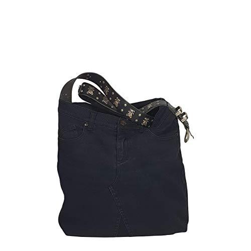 Jeanstasche - Denim Schultertasche, Ledergürtel mit Bärchen, Umhängetasche aus Jeans handgemacht - 35 x 37 x 11 cm (Schwarz) -