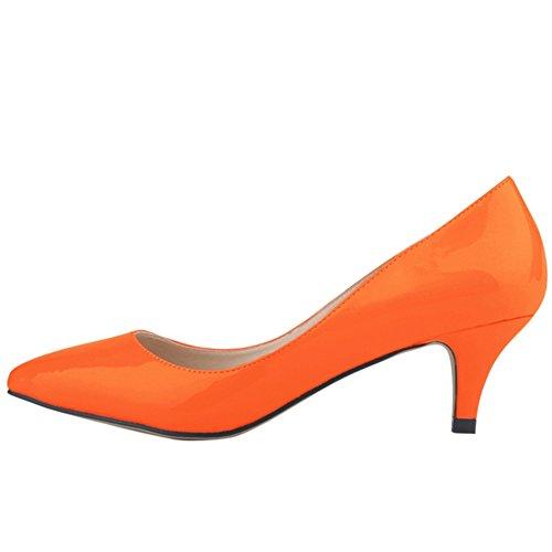 OCHENTA Damen Pumps Keilabsatz Mittelhoch aus PU-Leder mit Bonbonfarben Spitzen Sexy Ohneverschluss Orangerot