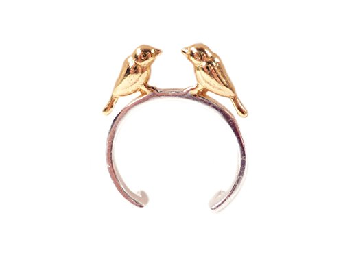 Ring zwei kleine Vögel 925 Silber vergoldet