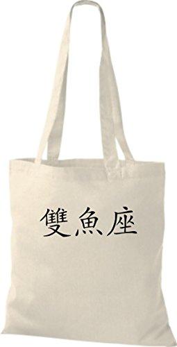ShirtInStyle Stoffbeutel Chinesische Schriftzeichen Fische Baumwolltasche Beutel, diverse Farbe natural