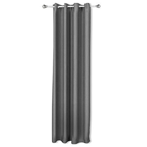 SONGMICS Verdunklungsvorhang Gardine Vorhang mit Ösen 145 x 245 cm SilberGrau LRB245G