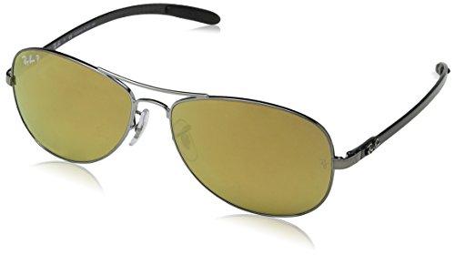 Ray Ban Unisex Sonnenbrille RB8301 Gestell: Gunmetal/Grau, Gläser: Polarized Silber Verspiegelt 004/K6), Large (Herstellergröße: 59)