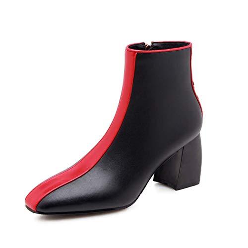 MISS&YG Damenmode-Booties Lederdicke Fersen Seite Reißverschluss Color Block Knöchelstiefel,Red,36 - Red Booties