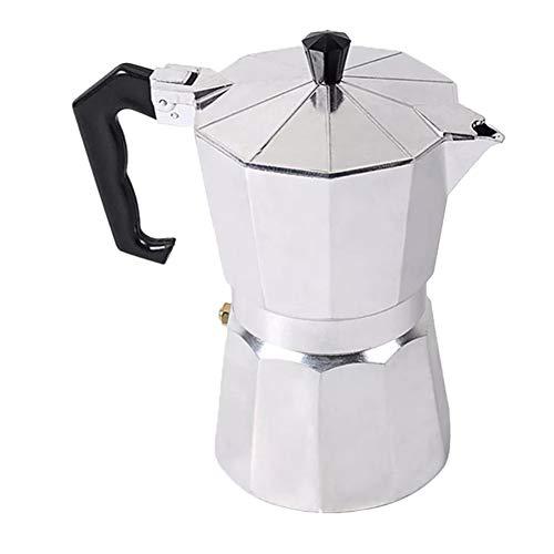 GUOCU Espressokocher für Gas- oder Elektroherd für 1/3/6/9/12 Tassen Demitasse Espresso Shot-Maker für italienischen Espresso Cappuccino oder Latte,Silber,100 ML