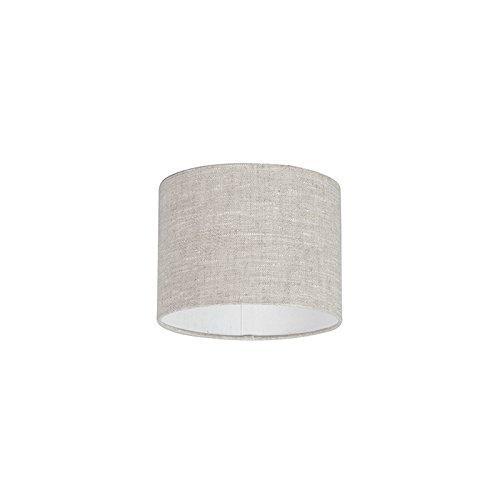QAZQA Modern Polyester Lampenschirm 20/20/15 Zylinder grau-weiß, Rund gerade Schirm...