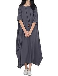 Blansdi Femme Robe Grand Taille en Lin Robe Longue Manches Chauve-souris Loose Coton Lin