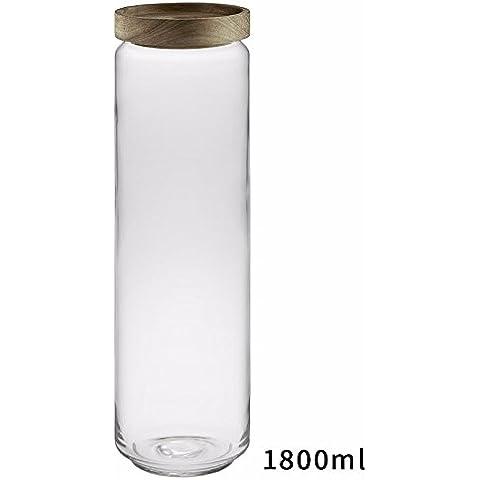 Retrò Memorizzazione vetro contenitore caffè vaso sigillato porta in legno contenitore di stoccaggio pasta tè ammettere serbatoio 1800ml E