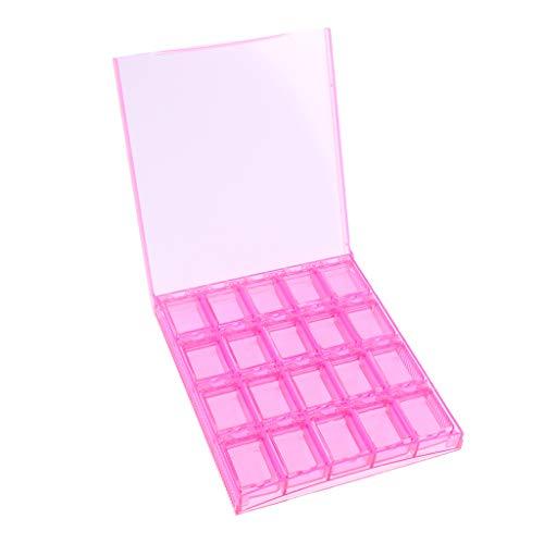 Sharplace 20 Compartiments Boîte Vide Rangement Faux Ongles Capsule Nail Art Manucure Plastique Stockage - Rose