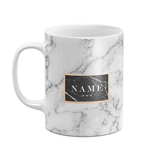 Personalisiert Tasse, Initialen von Vor- und Nachname, Custom Name Text Zitat Quote Weiß Marmor...