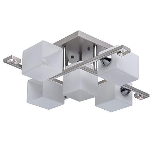 Demarkt 673012005 lampadario da soffitto di metallo colore argento cromo paralumi vetro bianco forma quadrata in stile moderno 5 x 60w e14 escl